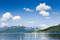 Fiord mountains and blue sky Gratangen Norway.