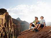 A father and kids at Red Rock
