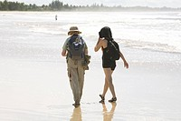 People Walking on Beach, Canavieiras, Bahia, Brazil