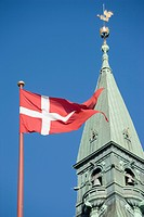 Copenhagen, Denmark, Danish flag flying on Town Hall