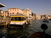 Moored boat, buildings in background, Grand Canal, Venice, Italy