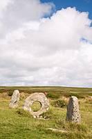 The Men-an-tol standing stones Penwith Moor, Cornwall, England, UK