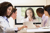 Businesspeople in meeting teleconferencing