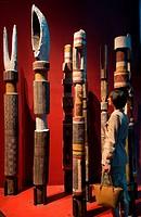 France, Paris, Musee du Quai Branly by architect Jean Nouvel, Aboriginal totems