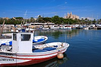 Spain, Balearic Islands, Majorca, Palma de Majorca, the harbour and the cathedral in the background