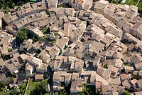 France, Vaucluse, Luberon, village de Lourmarin, labelled Les Plus Beaux Villages de France The Most Beautiful Villages of France aerial view