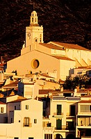 Spain, Catalonia, Cadaques, church in the centre of the village