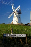 roadsign for windmill road and Ballycopeland windmill historic monument and tourist attraction county down northern ireland