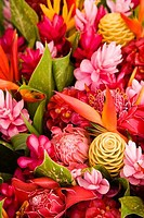 Close_up of assorted flowers, Papeete, Tahiti, French Polynesia