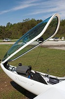 open cockpit of a glider