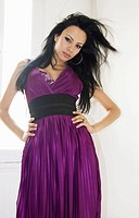 Transexual girl wearing purple dress