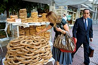 Greece, Athens, Pannepistimiou street, sale of sesame rings