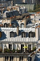 France, Paris, Beaubourg District, roofs of the city