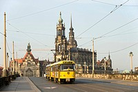 Germany, Saxony State, Dresden, city on the banks of the Elbe river the Haussmann Tower and Hofkirche Catholic Court Church