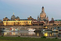 Germany, Saxony State, Dresden, with the Elbe river and Frauenkirche Church of Our Lady, old city Altstadt