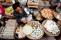 Indonesia, Java, market, eggs saleswoman