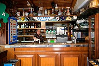 Italy, Campania, Amalfi Coast, listed as World Heritage by UNESCO, Positano, La Zagara piano bar tea room, glass of limoncello local alcohol made with...