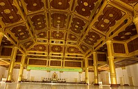 Myanmar Burma, Mandalay Division, Mandalay, monastery of the King Shwenandaw Kyaung or Shwe Kyaung of the former royal palace, the large room to welco...