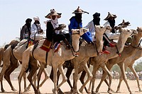 Niger, the Gerewol ceremony, general assembly of Wadabee Fula from Western Africa, Bororo, camels race