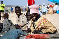 Senegal, Thies Region, Kayar, the beach and fishing harbour, young dockers in the fishing business