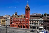 Switzerland, Basel, Marktplatz and City hall