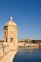 Malta, the Three Cities, Senglea, the Gardjola with the city of Valletta in the background
