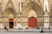 France, Rhone, Lyon, The Gothic Façade of the Saint Jean Cathedral
