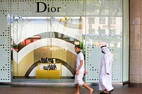 Singapore, Orchard Road, ISETAN Scotts, people of the Middle East along the front DIOR