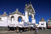 Bolivia, La Paz Department, Manco Kapac Province, Copacabana, market in front of Nuestra Senora de Copacabana Basilica