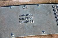 Euroscope, Ness Point, Lowestoft, Suffolk, England, Britain?s most easterly point  Summer solstice sunrise plaque