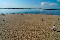 Beach in Samara by the Volga river, Samara Region, Russian Federation, Russia