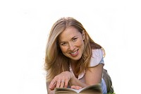 woman reading a book, smiling, cut out