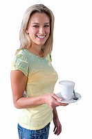 girl holding cup of frothy coffee, cut out