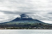 Pico island volcano view from the sea