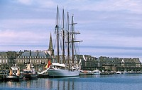 France, Ille et Vilaine, Saint Malo, four masts at the harbour in Vauban Pool and the ville close fortified town