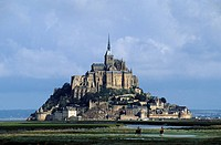 France, Manche, Saint Michel de Montjoie area, riders in front of the Mont Saint Michel listed as World Heritage by UNESCO