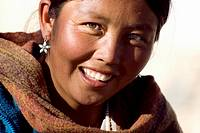 Portrait of woman, Tibetan refugees camp, Choglamsar, Ladakh, Jammu and Kashmir, India