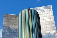 The Moretti tower covered in 672 differently coloured tubes, buildings of the business sector Paris La Défense, Paris, France