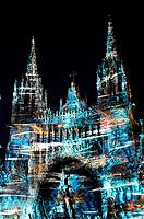 ´The Impressionist Nights´ light show highlighting the cathedral as painted by Monet (lighting designer: Skertzo), Rouen, Seine-Maritime, Upper Norman...
