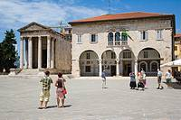 Communal Palace, City hall and Temple of Augustus (Augustov hram), Forum Square, Pula, Istria, Croatia