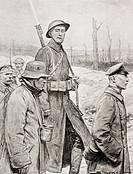 An American soldier guards German prisoners of war in First World War  From L'Illustration, 1918