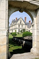 France, Montlouis-sur-Loire 37  La Bourdaisi&#232;re castle, historic building converted in luxurious hotel, viewed from an old stoned gate in garden