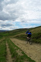 A man mountain biking in the countryside