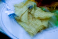 Blurred image of Taco Salad in restaurant USA
