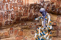 Mali, Dogon Country, Bandiagara Cliffs listed as World Heritage by UNESCO, Songho Cave where circumcisions are done, rupestrian painting with animals ...