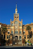 Spain, Catalonia, Barcelona, carrer de Cartagena, Hospital de la Santa Creu i de Sant Pau listed as World Heritage by UNESCO, by architect Domenech i ...