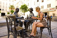 France, Var, Toulon, Marius and Cesar, statues of Marcel Pagnol´s famous characters