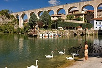 France, Drome, Saint Nazaire en Royans, the artificial lake under the aqueduct the Canal de la Bourne built in 1876 and converted into a pedestrian wa...