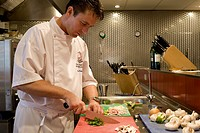 Netherlands, Friesland Province, Harlingen, kitchen Gastronoom restaurant, the chef Marco Poldervaart at work