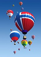 International flag hot air balloons
